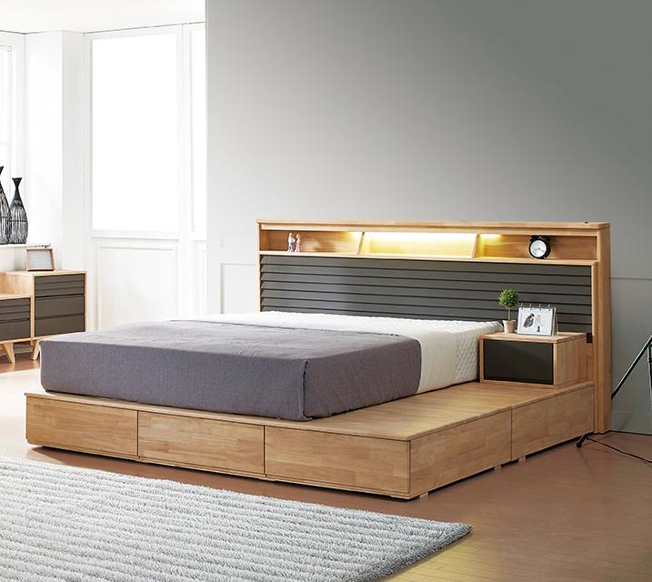 베릴 고무나무 LED 침대Q 2000 +  협탁 / 월 49,800원
