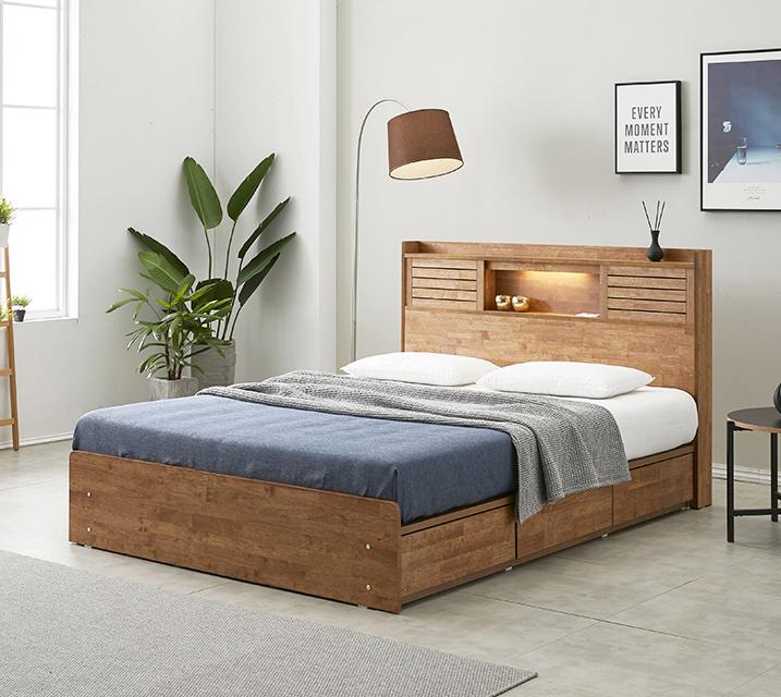 아가타 고무나무 LED 3단 서랍 침대 퀸 (Q) 침대세트 [독립소프트폼 매트리스포함]/ 월 33,800원