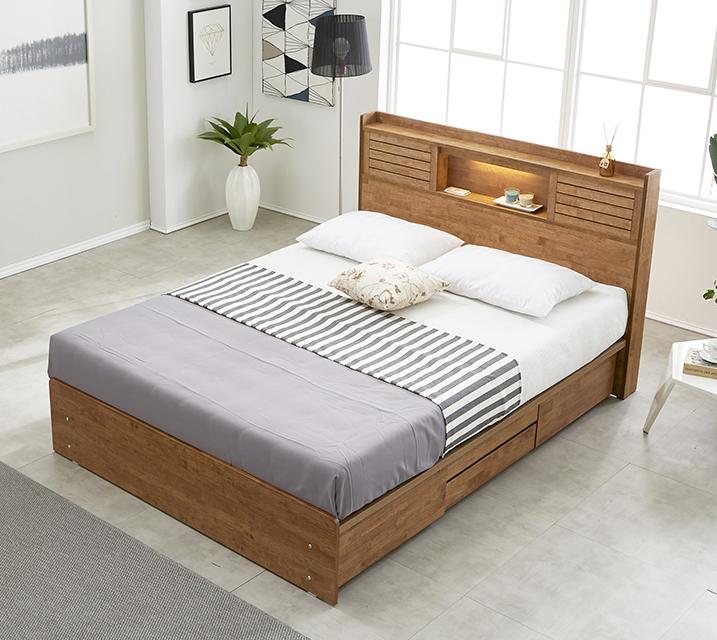 아가타 고무나무 LED 4단 서랍 침대 퀸 (Q) 침대세트[독립소프트폼 매트리스포함] / 월 35,800원