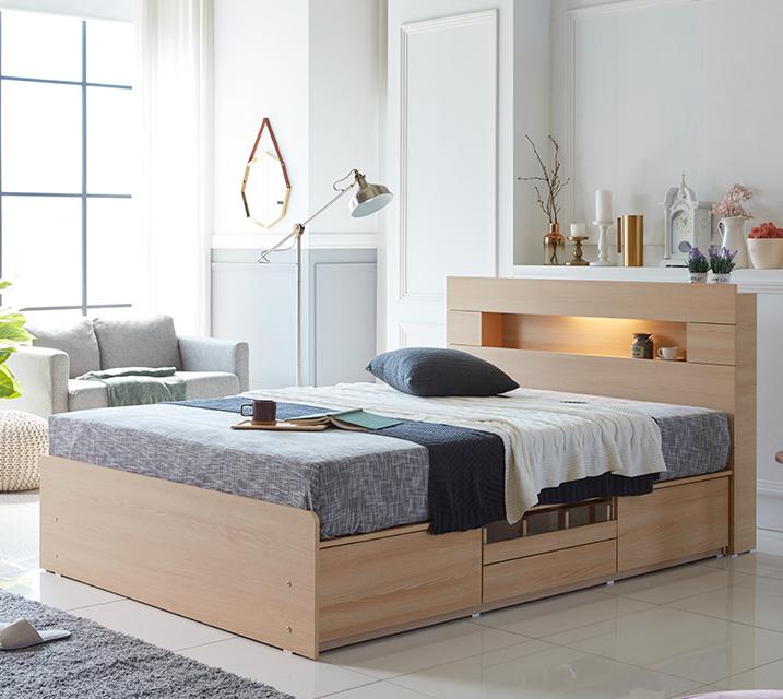 이리나 LED 4단 수납 침대 퀸 (Q) 침대세트 [독립소프트폼 매트리스포함] / 월 27,800원