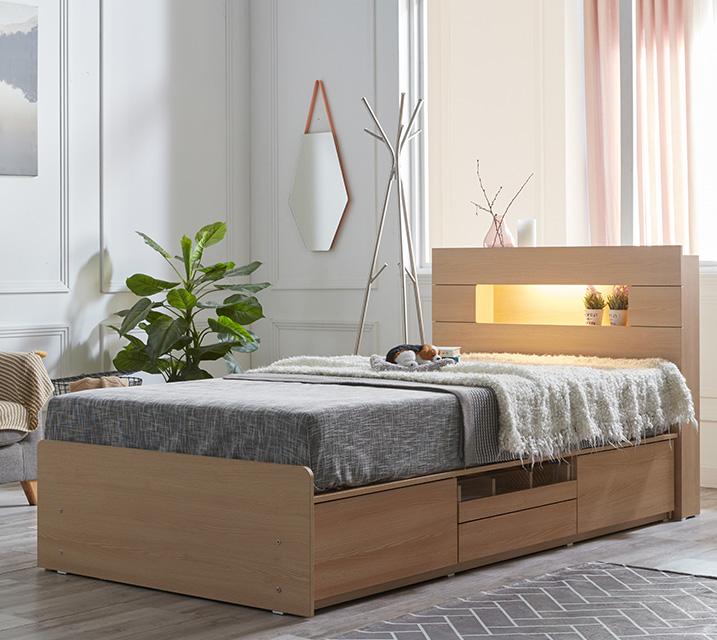 이리나 LED 4단 수납 침대 슈퍼싱글 (SS) 침대세트 [독립소프트폼 매트리스포함] / 월 25,800원