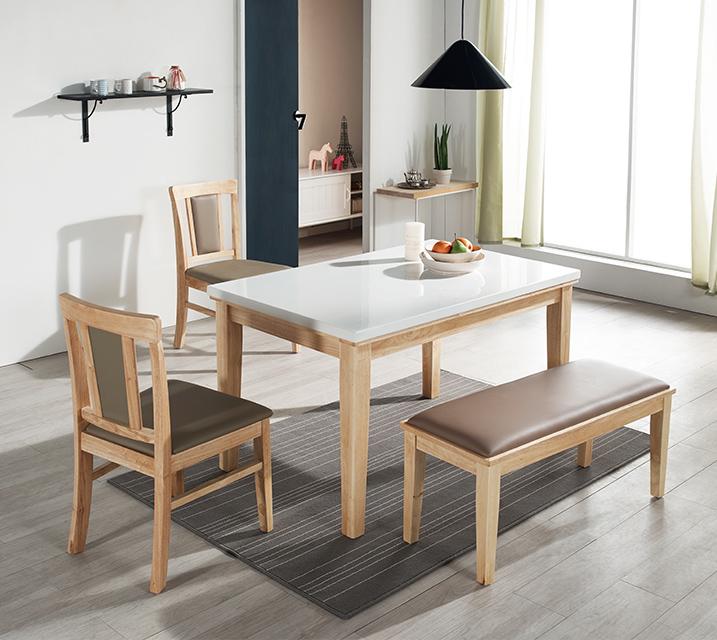 에이미 천연대리석 4인 식탁 (벤치형 / 의자형2ea+4인벤치) / 월 25,800원