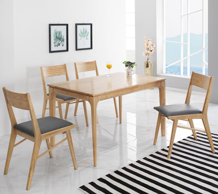 그레텔 고무나무 원목 4인 식탁 세트 (의자형 / 의자4ea)  / 월 25,800원