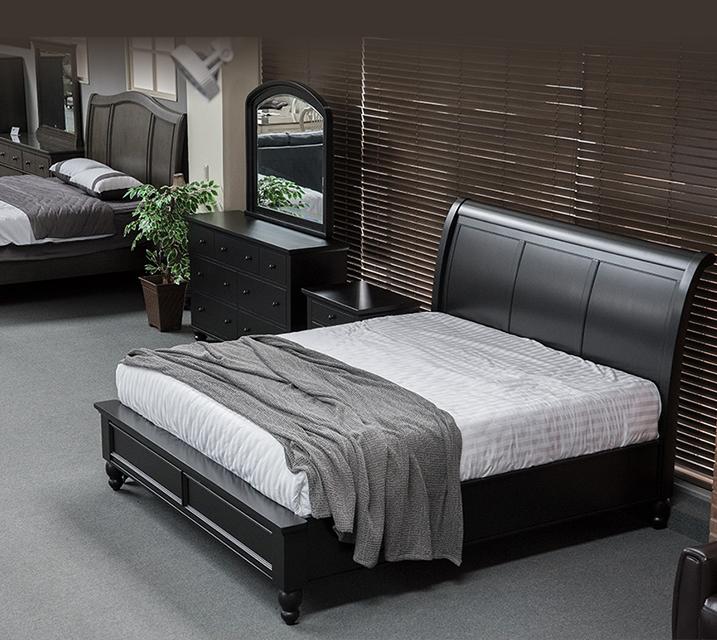 ICB 캠브리지 슬래그 엔틱 침실 EK 세트 - Black [침대프레임+화장대+거울+협탁] / 월 119,800원