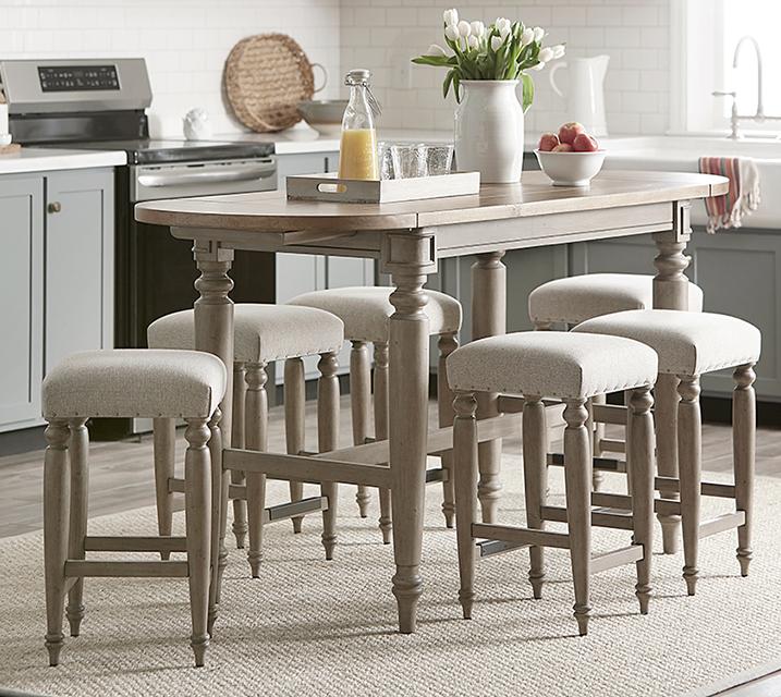 750 내시빌 컬렉션 홈바 엔틱 식탁 세트 [테이블+의자 4개] / 월 91,800원