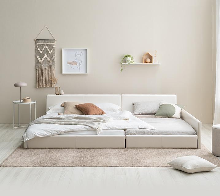 데이지 패밀리 침대 [화이트] SS+SS+PVC 깔판 / 월 23,800원