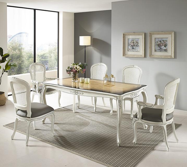 칼리아 엔틱 6인 식탁 세트 (팔걸이형) 6인식탁 + 팔걸이형 의자 2개 + 일반형 의자 4개 / 월 85,800원